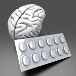 Some pills for the Brain. Symbolic for Drugs Psycho pharmaceuticals Nootropics and other Medications. 3d rendered Illustration.